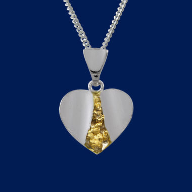 Heart-pendant with gold nuggets