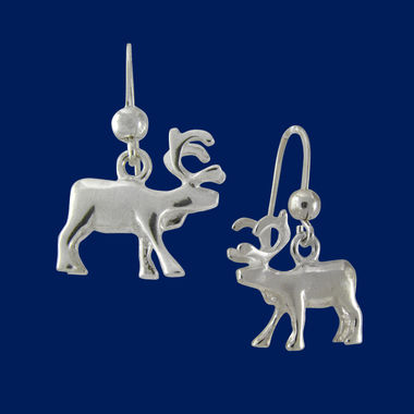 Standing reindeer, earrings (hook)