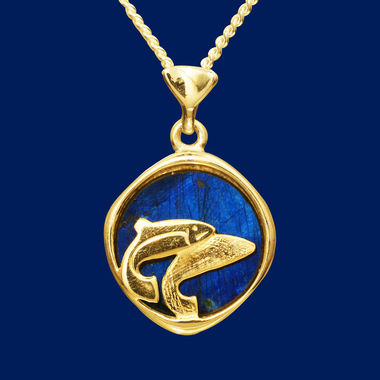 Trout, pendant, gold