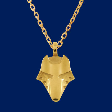 Wolf head, small pendant, gold