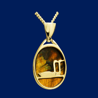 Swan pond, pendant, gold