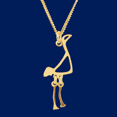 Crane, small pendant, gold