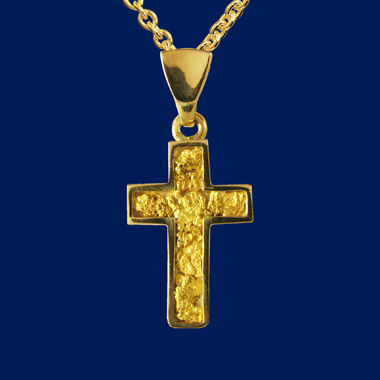 Gold Nugget Cross, pendant