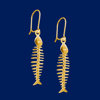 Fish-bone, earrings, gold