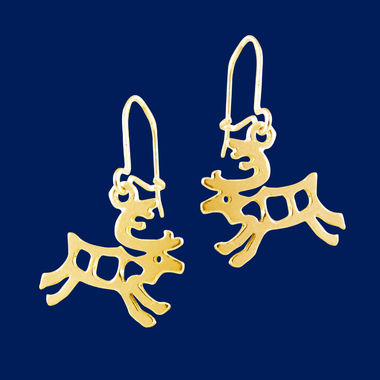 Little Reindeer, earrings, gold