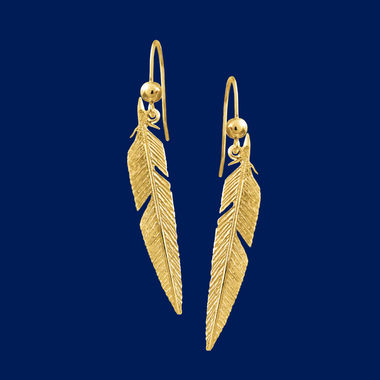 Feather, earrings (hook), gold