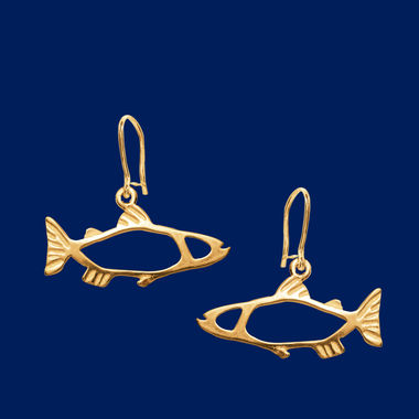 The Salmon, small earrings, gold