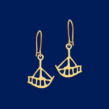 The Boat, earrings small, gold