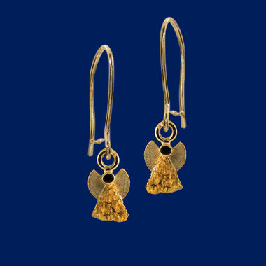 Gold Nugget Angel, earrings, gold