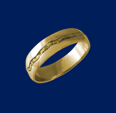 Gold nugget ring, width 5 mm