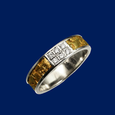 Gold Nugget Ring, diamond