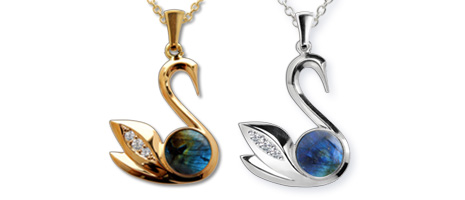 Gold pendants, swan