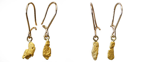Gold nugget earrings, under 2 grams