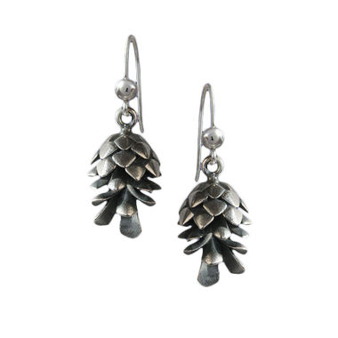 Conifer Cone, silver earrings
