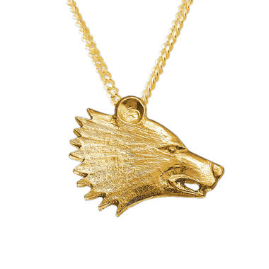 Bear head, pendant, gold