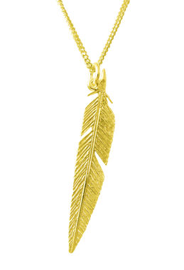 Feather, pendant, gold