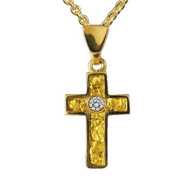 Gold Nugget Cross, 0,10k diamond