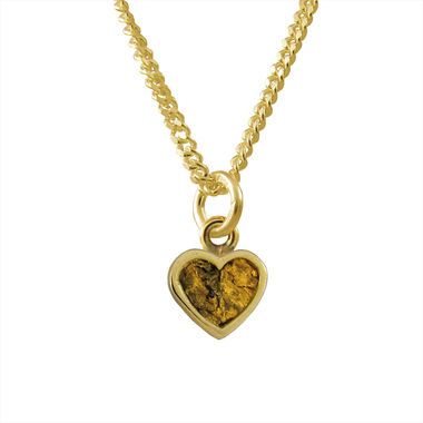 Gold Nugget Heart, small pendant