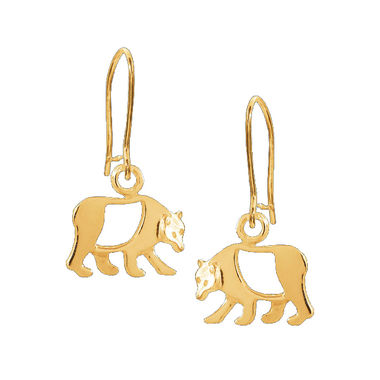 Bear, earrings, small, gold