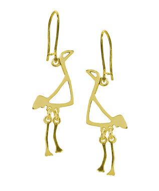 Crane, small earrings, gold