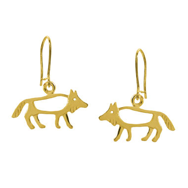The Wolf, small earrings, gold