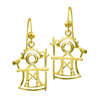 The God of Thunder, earrings, gold