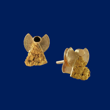 Gold Nugget Angel, earrings (studs), gold