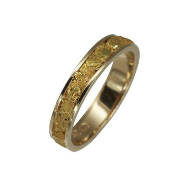 Gold Nugget ring, width 4,5 mm