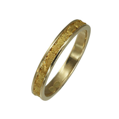 Gold nugget ring, width 3,5mm