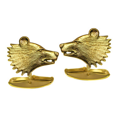 Bear head, cufflinks, gold