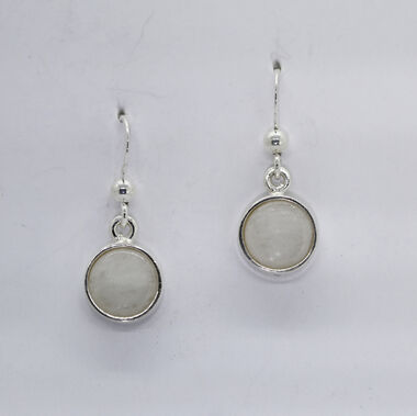 Snow quartz earrings, 8mm