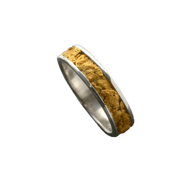 Gold Nugget Ring, width 4,5mm