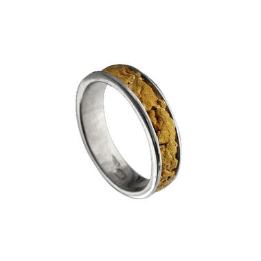 Gold nugget ring, width 6mm