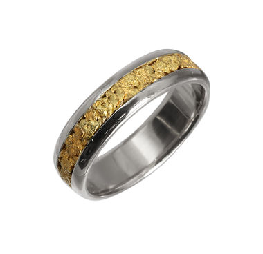 Gold Nugget ring, width 5mm