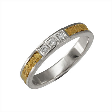 Gold Nugget ring, white gold, width 3,5 mm