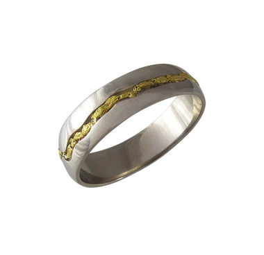 Gold nugget-river ring, white gold, width 5mm