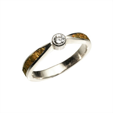 Gold Nugget ring, width 3,5mm, 0,10 k W/VS
