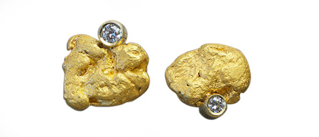 Gold nugget earrings, over 2 grams